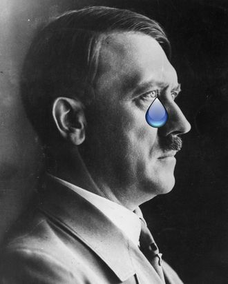 Hitler, presumably feeling sad about the mess in his pants that should be his penis.