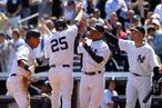 Alex Rodriguez #13, Mark Teixeira #25, Robinson Cano #24 and Raul Ibanez #27 of the New York Yankees celebrate after a three-run RBI double by Nick Swisher