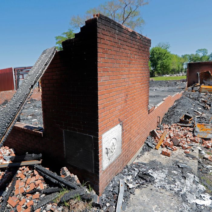 The remains of a burned black church, St. Landry Parish, Louisiana, 2019.