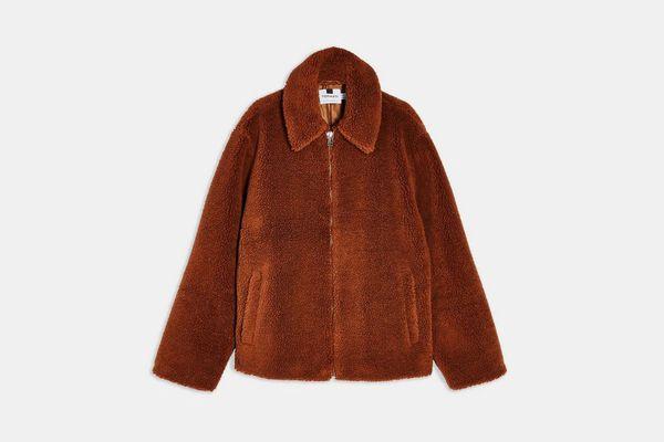 Topman Rust Short Teddy Faux Fur Jacket