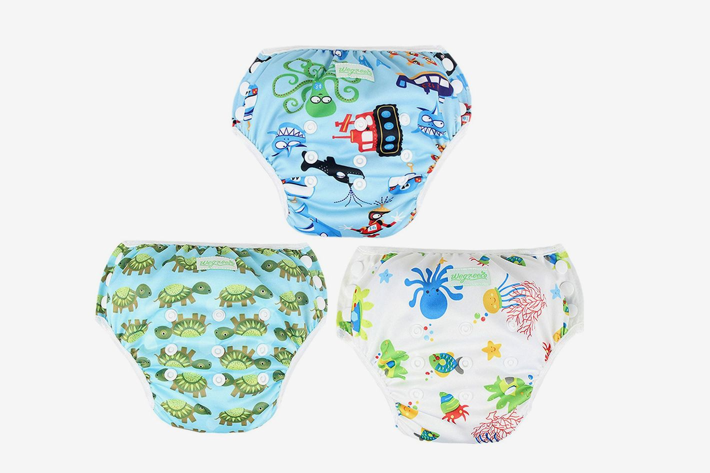 Wegreeco Baby & Toddler Snap One Size Reusable Baby Swim Diaper 3-Pack