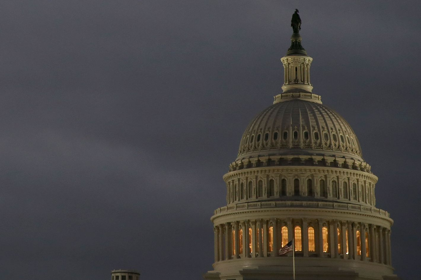 WASHINGTON, DC - OCTOBER 07:  Lights are on at the U.S. Capitol on October 7, 2013 in Washington, DC. Democrats and Republicans are still at a stalemate on funding for the federal government as the shut down goes into the seventh day.  (Photo by Mark Wilson/Getty Images)