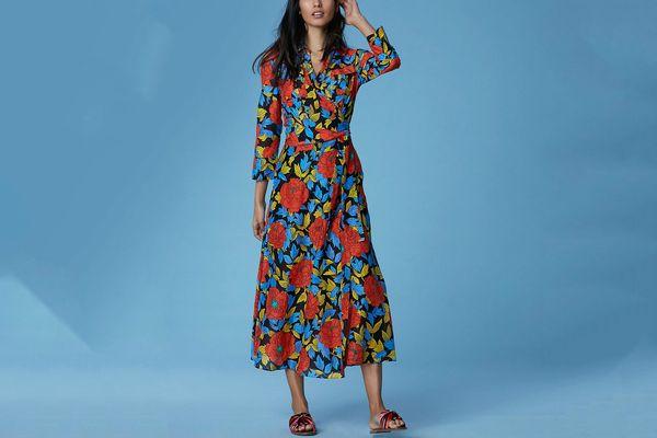 Diane von Furstenberg Collared Wrap Dress Cover-Up, Boswell Black