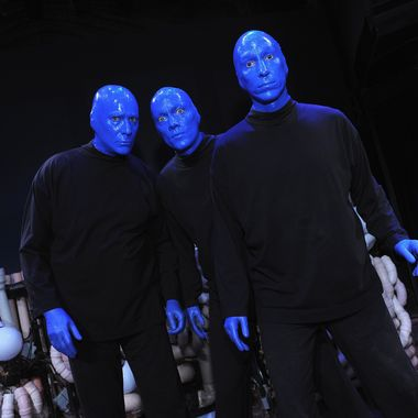 Blue Man Group founders Phil Stanton, Chris Wink and Matt Goldman pose for a photo at the Blue Man Group's 20th anniversary reunion show to benefit The Blue School at the Astor Theater on April 13, 2011 in New York City.