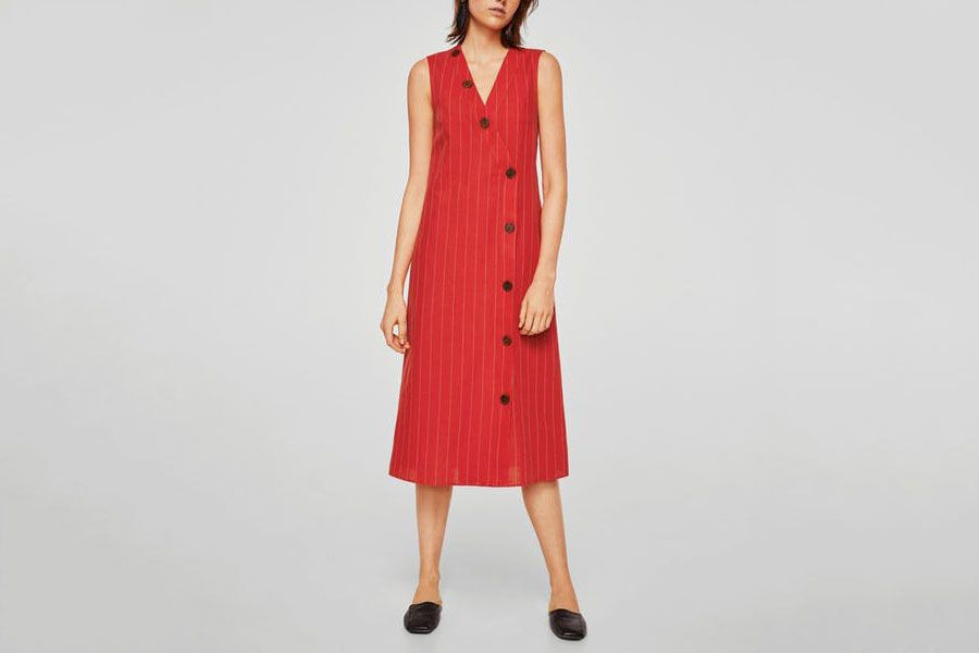 Mango Striped Linen Dress