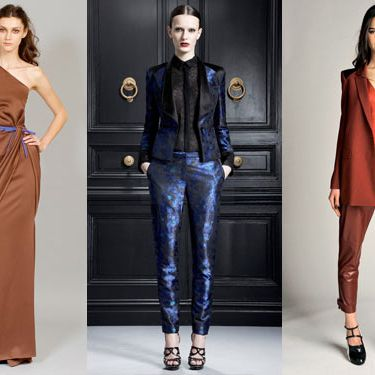From left: new pre-fall looks from Carolina Herrera, Jason Wu, and Rachel Roy.