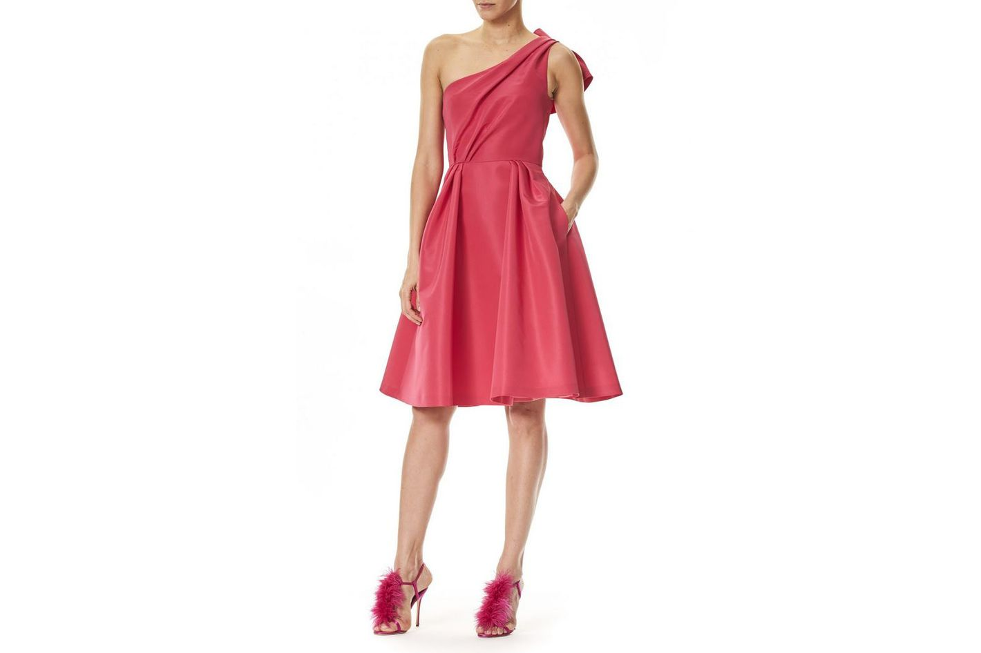 Carolina Herrera One-Shoulder Bow Back Dress