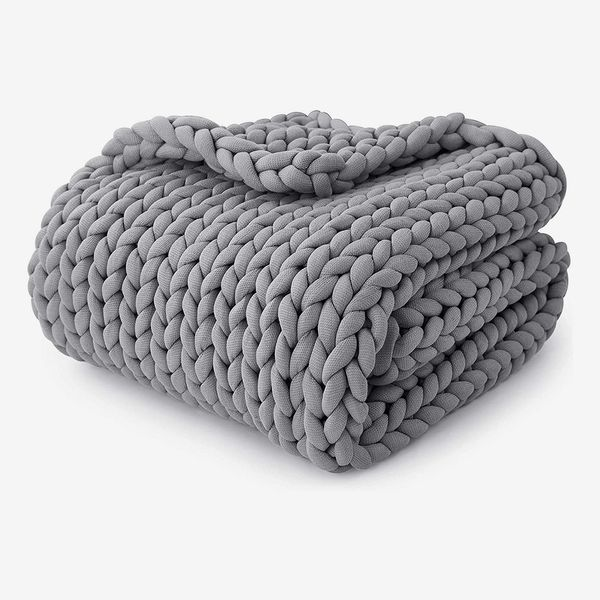 YnM 20-Poung Knitted Weighted Blanket, French Silver, 60''x80''