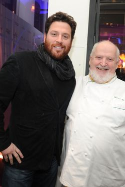Pictured with Scott Conant, Richard (right) loves chefs, kisses, jewels, chocolate cake, and NYC.