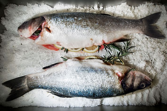 Step one: Start with salt-baked branzino.