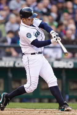 SEATTLE, WA - MAY 5: Jesus Montero #63 swings during an at-bat in a game against the Minnesota Twins at Safeco Field on May 5, 2012 in Seattle, Washington. (Photo by Stephen Brashear/Getty Images)