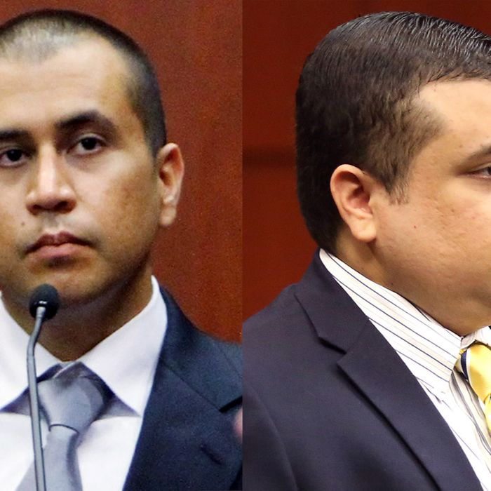 SANFORD, FL- APRIL 20: George Zimmerman (L) sits on the stand as he answers questions from his his attorney Mark O'Mara in a Seminole County courtroom during his bond hearing on April 20, 2012 in Sanford, Florida. Trayvon Martin was shot by George Zimmerman, a member of a neighborhood watch in Sanford, Florida, who has been charged with second degree murder in the shooting. Bail was set at $150,000 and Zimmerman and could be released from jail as he awaits trial as early as April 21. (Photo by Gary Green/The Orlando Sentinel-Pool/Getty Images)