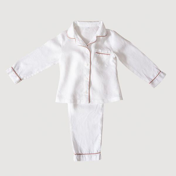 White Linen Kids Pyjama Set