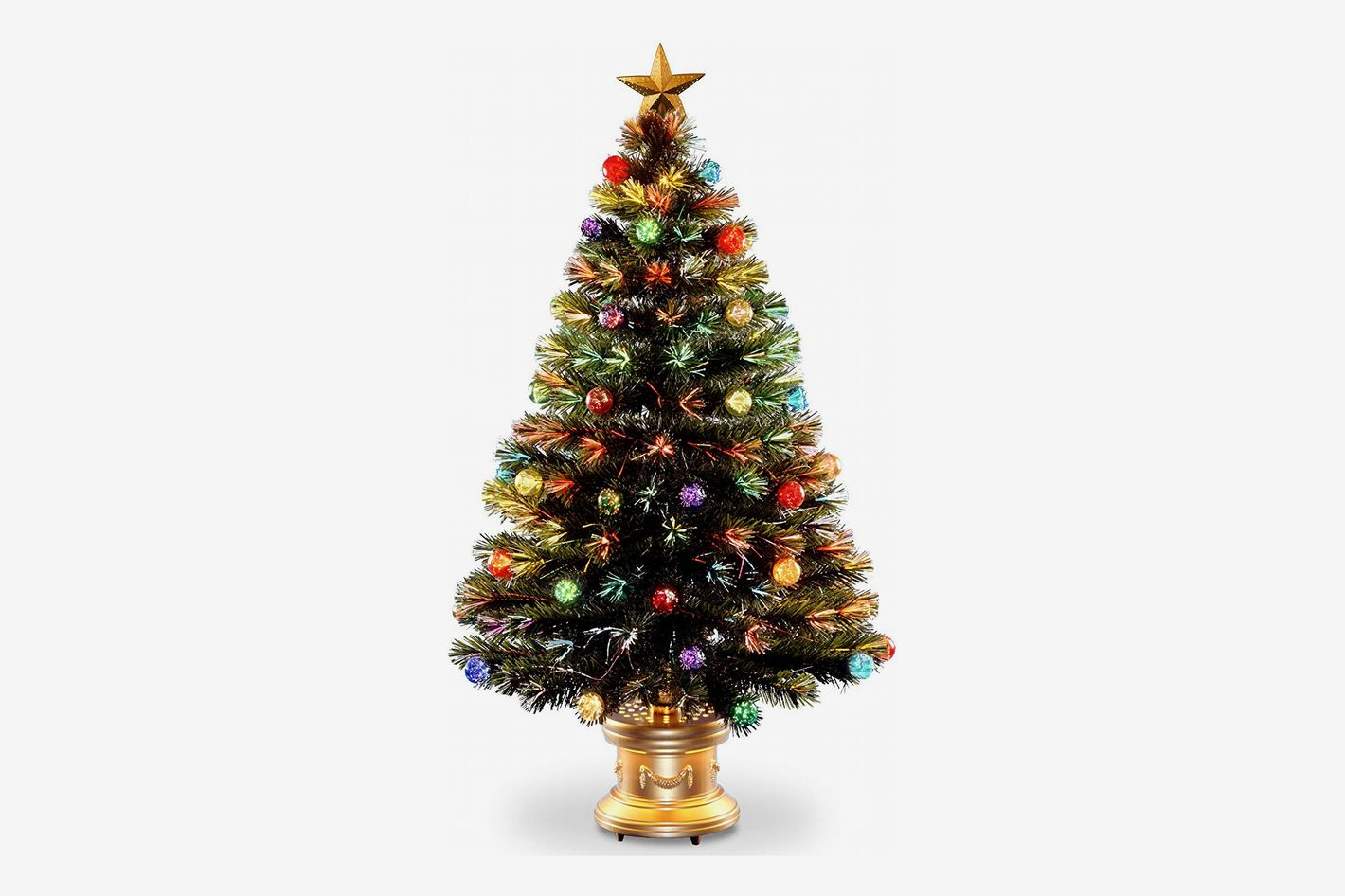 National Tree 48 Inch Fiber Optic Ornament Fireworks Tree with Gold Top Star