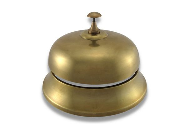 Upper Deck Oversized Brass Finish Aluminum Desk Bell