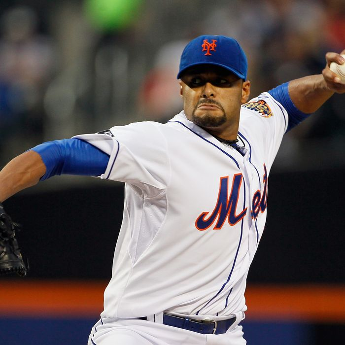NEW YORK, NY - JUNE 01: Johan Santana #57 of the New York Mets delivers a pitch in the first inning against the St. Louis Cardinals at CitiField on June 1, 2012 in the Flushing neighborhood of the Queens borough of New York City. (Photo by Mike Stobe/Getty Images)