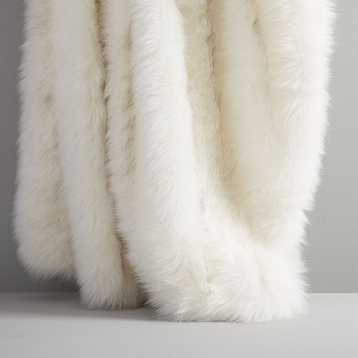 West Elm Faux Fur Brushed Tips Throw