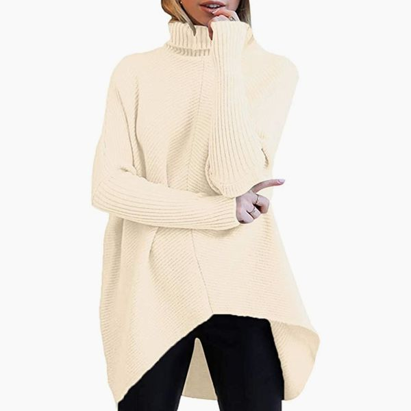 Anrabess Long Turtleneck with Batwing Sleeves