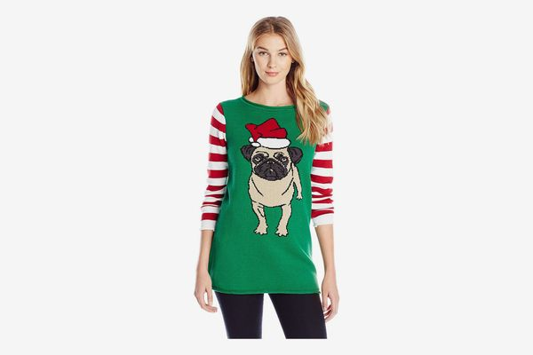 Ugly Christmas Sweater Women's Santa Pug Pullover Sweater