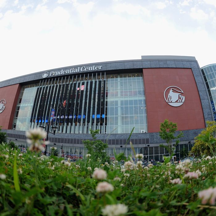 NEWARK, NJ - JUNE 02: An exterior view of the Prudential Center seen before Game Two of the 2012 Stanley Cup Final between the New Jersey Devils and the Los Angeles Kings on June 2, 2012 in Newark, New Jersey. (Photo by Noah Graham/NHLI via Getty Images)