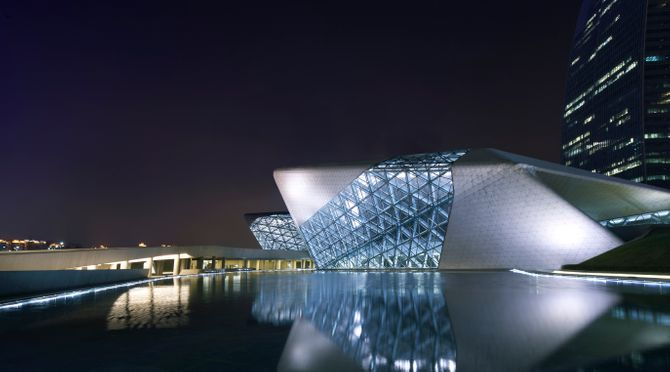 Opera HouseGuangzhouChina Architect:  Zaha Hadid Guangzhou Opera House, Zaha Hadid Architects, Guangzhou, China, 2011  View Across Lake