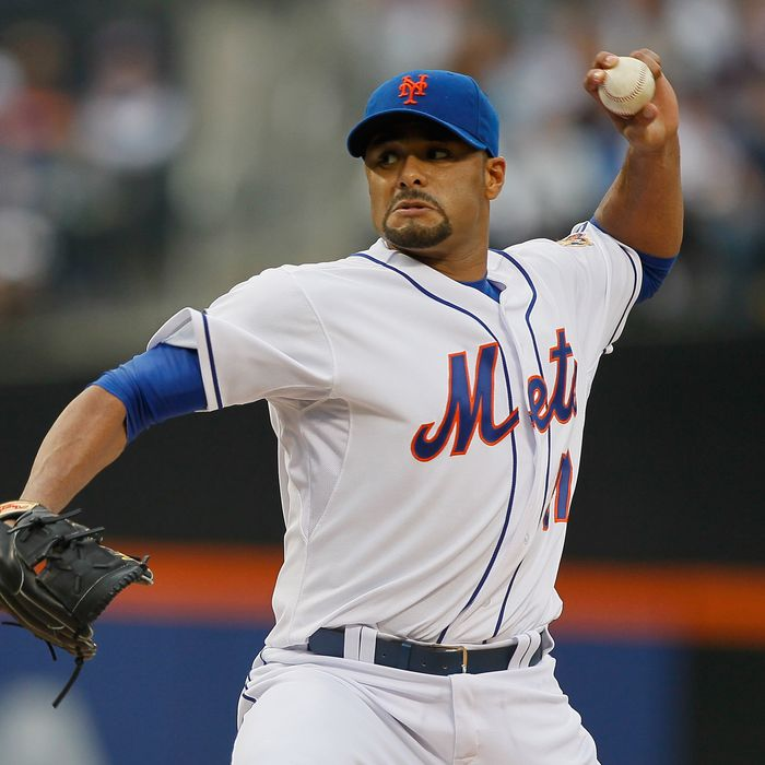 Johan Santana #57 of the New York Mets pitches in the first-inning against the Baltimore Orioles at CitiField on June 19, 2012.