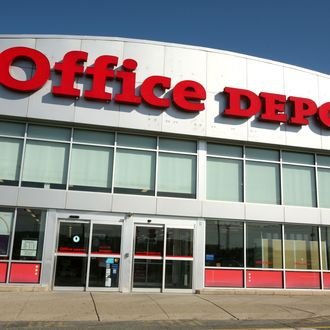 Consumers walking into an Office Depot Store, in Totowa, New Jersey. Office Depot was recently awarded the Environmental Partner Award from Webster Industries for diverting millions of pounds of plastic from landfill through the sale of recycled content ReClaim and Earth Sense trashcan liners. Through its use and sale of these products, over the past three years, Office Depot has prevented nearly 2.4 million pounds of plastic from going to landfills or being incinerated.