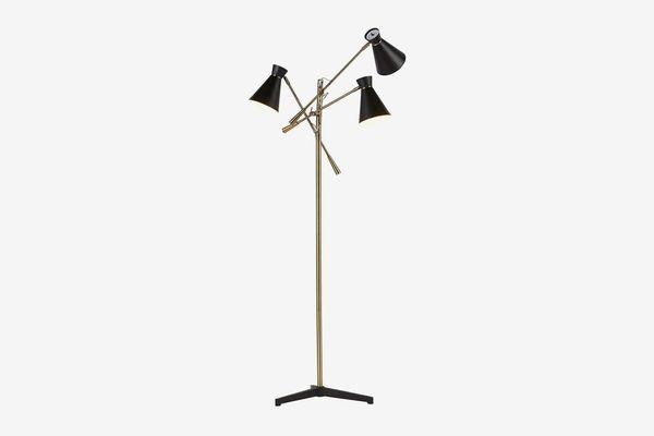 Rivet Retro 3-Arm Floor Lamp with Bulbs, Brass