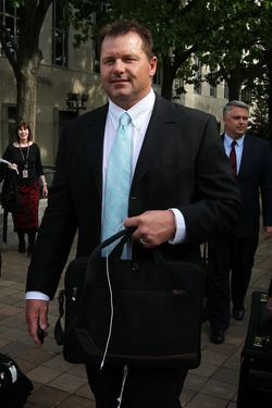 WASHINGTON, DC - MAY 01:  Former all-star baseball pitcher Roger Clemens leaves the U.S. District Court after a day of hearing of his perjury and obstruction trial May 1, 2012 in Washington, DC. New York Yankees pitcher and longtime friend of Clemens Andy Pettitte took stand today and said Clemens had told him that he had used human growth hormone.  (Photo by Alex Wong/Getty Images)