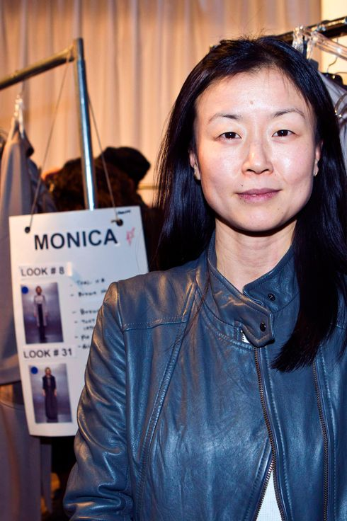 Designer Doo-Ri Chung backstage at the Doo.Ri Fall 2012 fashion show during Mercedes-Benz Fashion Week at the Eyebeam Gallery on February 10, 2012 in New York City.
