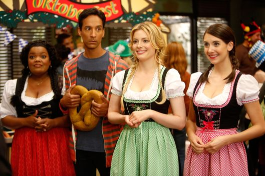 "COMMUNITY -- ""Alternative History of the German Invasion"" Episode 402 -- Pictured: (l-r) Yvette Nicole Brown as Shirley, Danny Pudi as Abed, Gillian Jacobs as Britta, Alison Brie as Annie"