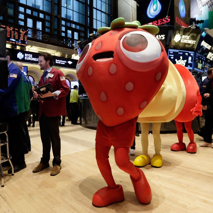 Characters of the King Digital Entertainment game Candy Crush Saga walk the trading floor of the New York Stock Exchange, before the company's IPO, Wednesday, March 26, 2014. The stock market opened higher Wednesday after a strong report on American manufacturing. The maker of the hit game