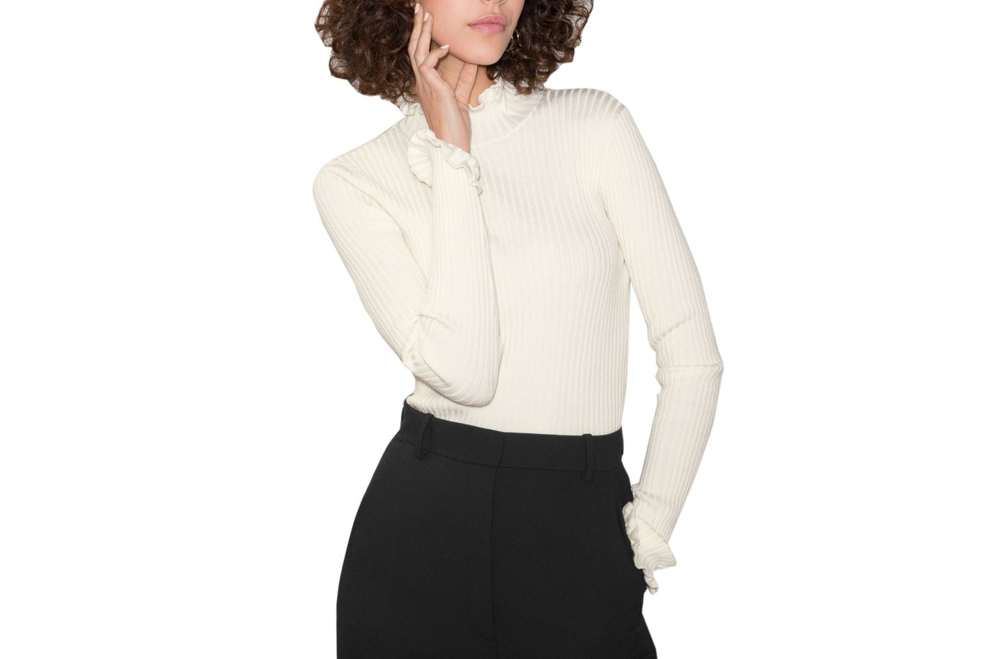 & Other Stories Ruffles and Ribbed Turtleneck