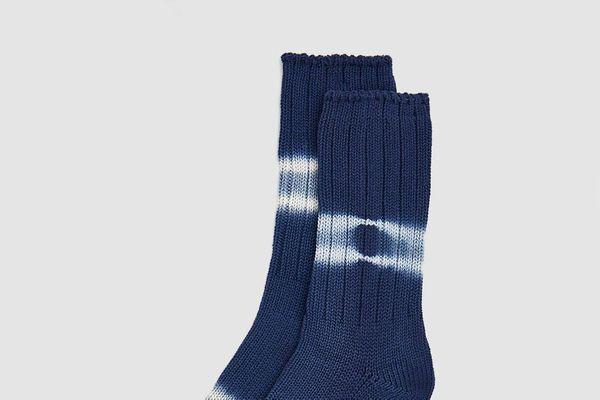 Anonymous Ism Shibori Dye Crew Stripe Sock in Indigo