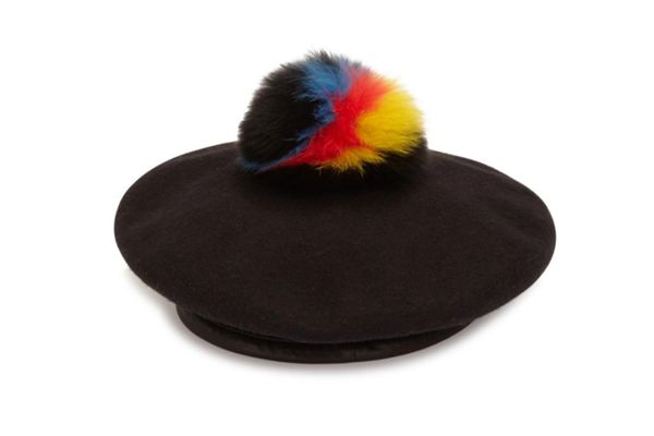 Eugenia Kim Hadley Fox Fur, Wool & Leather Beret