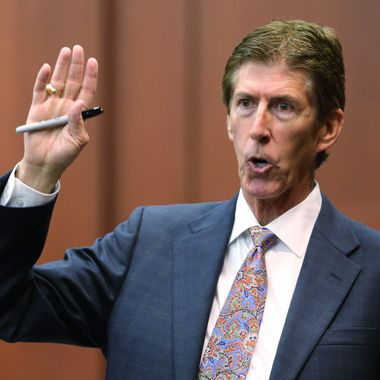 SANFORD, FL - JULY 12:  Defense counsel Mark O'Mara addresses the jury during closing arguments in George Zimmerman's murder trial July 12, 2013 in Sanford, Florida. Judge Debra Nelson has ruled that the jury can also consider a lesser manslaughter charge along with the second-degree murder charge in the shooting death of Trayvon Martin. (Photo by Joe Burbank-Pool/Getty Images)