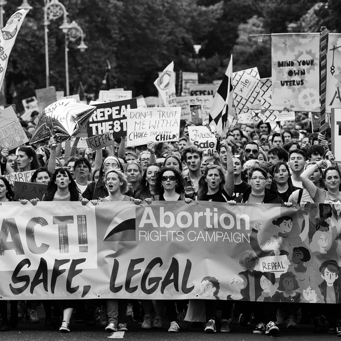 Women protesting for abortion rights in Ireland.