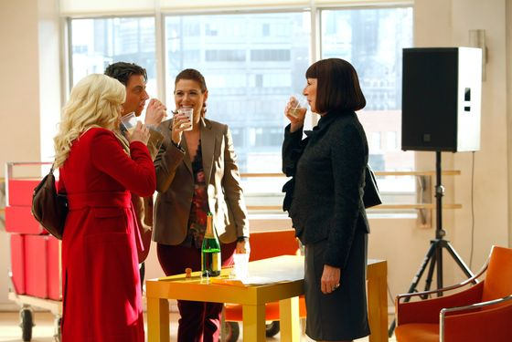 "SMASH -- ""Musical Chairs"" Episode 207 -- Pictured: (l-r) Megan Hilty as Ivy Lynn, Christian Borle as Tom Levitt, Debra Messing as Julia Houston, Anjelica Huston as Eileen Rand"