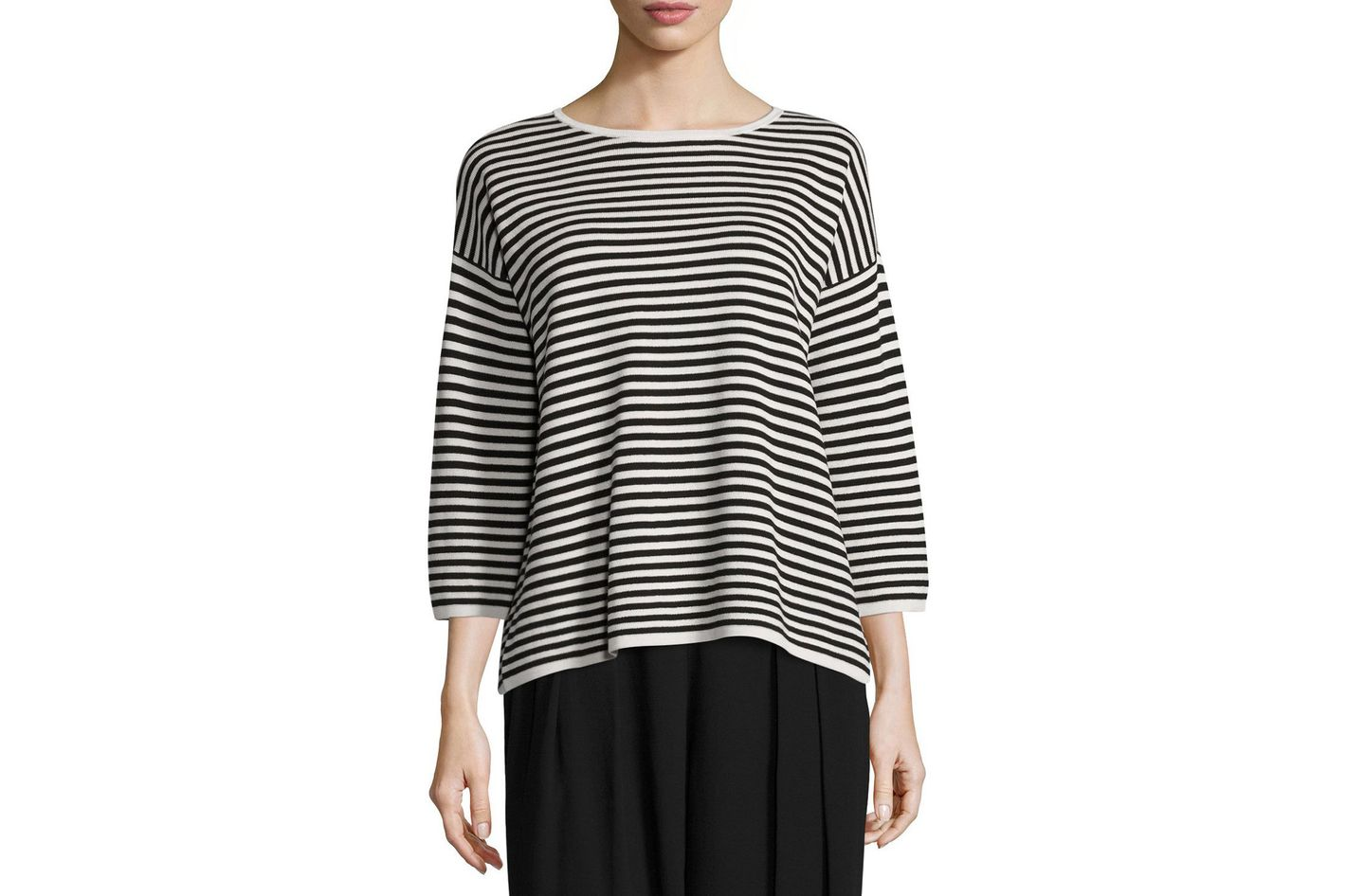 Eileen Fisher Striped 3/4-Sleeve Interlock Top