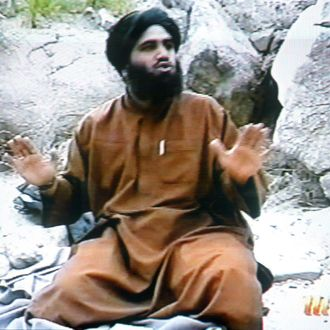This frame grab from the Saudi-owned television network MBC (Middle East Broadcasting Center) shows Suleiman Abu Ghaith, the spokesman of alleged terror mastermind Osama bin Laden's al-Qaeda network, claiming responsibility for the September 11 suicide attacks in the United States in an undated videotape broadcast by the Dubai-based MBC 17 April 2002. Bin laden hailed the economic losses suffered by the US as a result of the attacks on Washington and New York in the same tape which was reportedly recorded in December.