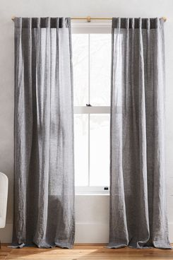 West Elm Semi-Sheer European Flax Linen Melange Curtain (Slate, 96