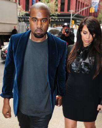 NEW YORK, NY - APRIL 23: Kanye West and Kim Kardashian are seen in Soho on April 23, 2013 in New York City. (Photo by Alo Ceballos/FilmMagic)