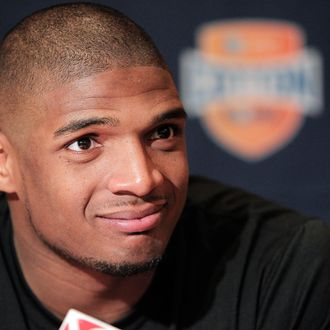 Missouri senior defensive lineman Michael Sam speaks to the media during an NCAA college football news conference, Wednesday, Jan. 1, 2014, in Irving, Texas. Missouri takes on Oklahoma State in the Cotton Bowl on Friday in Arlington, Texas. (AP Photo/Brandon Wade)