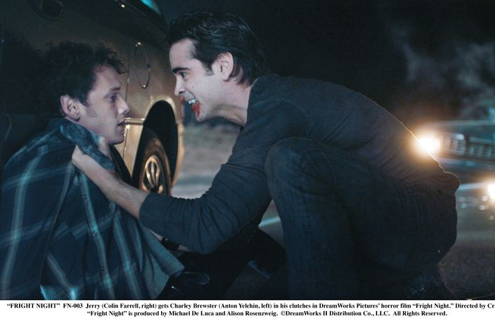 """""""FRIGHT NIGHT""""  FN-003  Jerry (Colin Farrell, right) gets Charley Brewster (Anton Yelchin, left) in his clutches in DreamWorks Pictures' horror film """"Fright Night."""" Directed by Craig Gillespie, """"Fright Night"""" is produced by Michael De Luca and Alison Rosenzweig.  ?DreamWorks II Distribution Co., LLC. ?All Rights Reserved."""