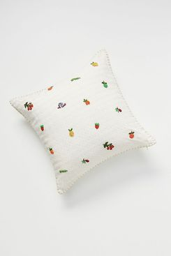 Anthropologie Hand-Embroidered Fruit Pillow