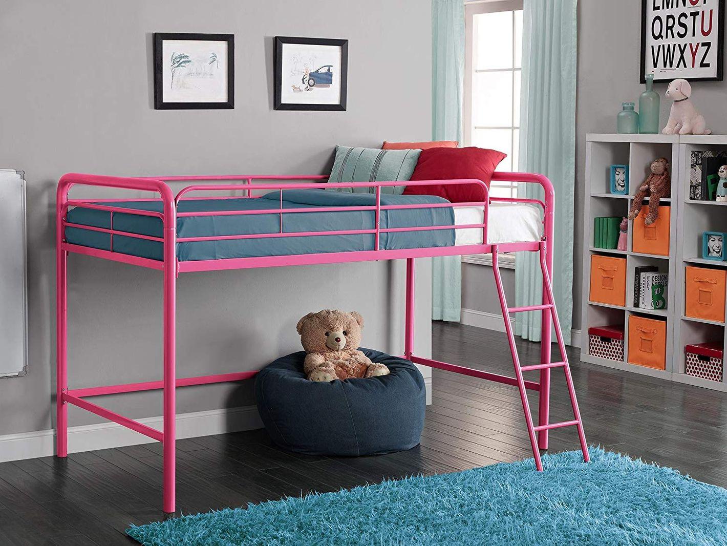 DHP Junior Loft-Bed Frame With Ladder, Pink