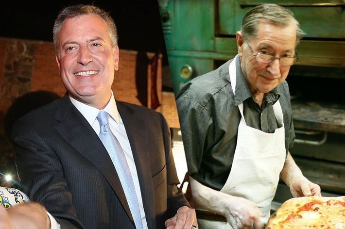 Bill de Blasio and Di Fara's Dom DeMarco.
