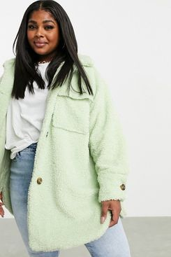 Missguided Plus Longline Borg Jacket