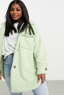Missguided Plus Longline Borg Jacket