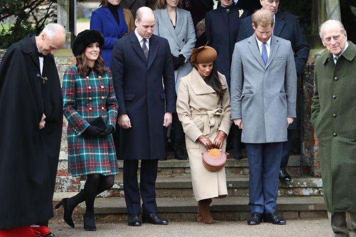 Kate Middleton and Meghan Markle curtsy at Sandringham over Christmas.